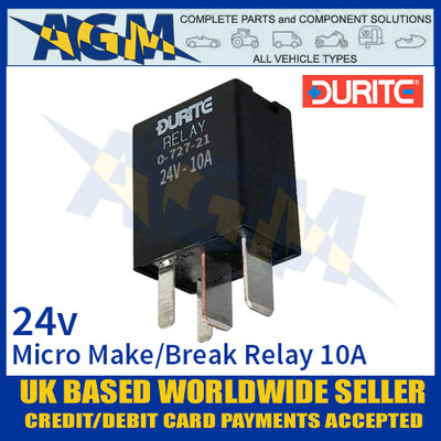 Durite 0-727-21 Relay, 24V. 10A Micro Make/Break Relay + Sealed Resistor