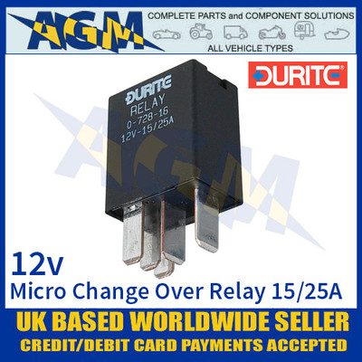 Durite 0-728-16 Relay, 12V. 15A/25A Micro Change Over Relay + Sealed Resistor