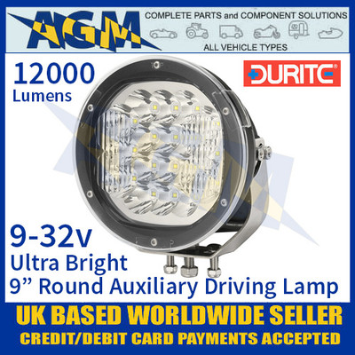 "Durite 0-537-49 Ultra Bright 9"" Round LED Auxiliary Driving Lamp, 12000 Lumens"