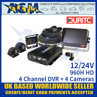 Durite 0-775-76 960H HD 4-Channel DVR + 4 Cameras, 12/24V Full Kit
