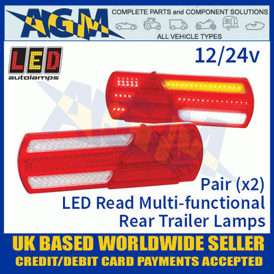 LED Autolamps EU390LR2 (x2) LED Rear Combination Trailer Lamps 12/24V