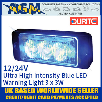 Durite 0-441-32 Blue Ultra High Intensity 3 x 3W LED Warning Light 12/24V