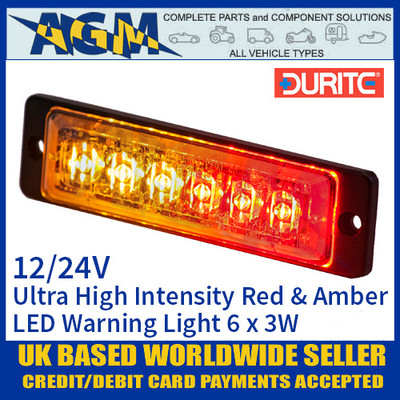 Durite 0-441-15 Red & Amber Ultra High Intensity 6 x 3W LED Warning Light 12/24V