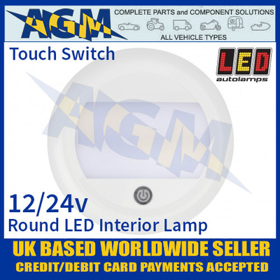LED Autolamps 13026WM-SW Round LED Interior Light/Lamp 12/24V - Touch Switch
