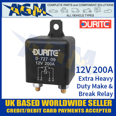0-727-09 Durite 12V 200A Extra Heavy Duty Make and Break Relay