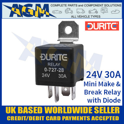0-727-28 Durite 24V 30A Mini Make and Break Relay with Diode