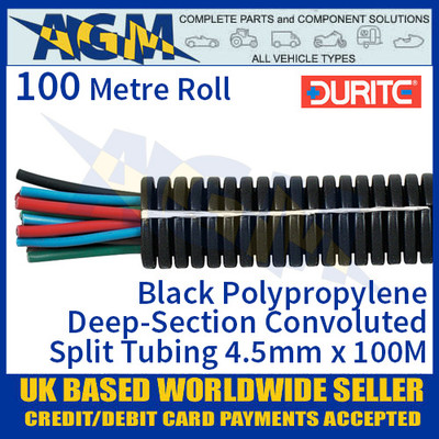 0-328-04 Durite Black Polypropylene Deep-Section Convoluted Split Tubing 4.5mm NW x 100M