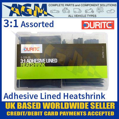 0-329-00 Durite Assorted 3:1 Adhesive Lined Heatshrink Kit - 107 pieces