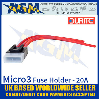 0-371-90 Durite Micro3 Fuse Holder, 20A, Fuse Holder Micro3, 5 Pack