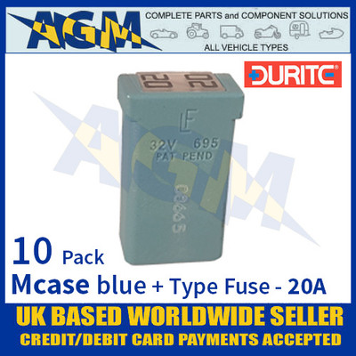 10-379-09 Durite Blue Mcase + Type Fuse - 20 Amp, Mcase & Fuse 20A - 10 Pack