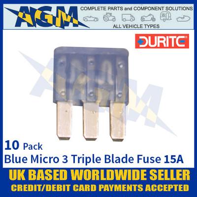 Durite 0-371-66, Blue Micro 3 Triple Blade Type Fuse - 15 Amp Fuse