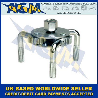 """Sealey AK643 Oil Filter Claw Wrench 1/2"""" And 3/8"""" Sq Drive 65mm-110mm"""