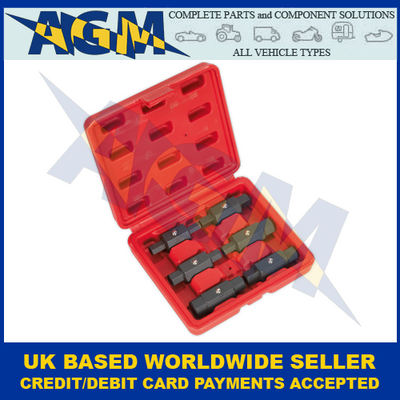 Sealey AK658, Oil Drain Six Piece, Double End Plug Key Set