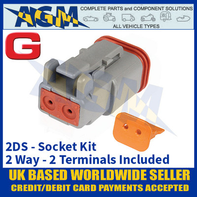 Deutsch 'DT' Series Connector - 2DS Socket Kit - 2 Way - 2 Terminals Included