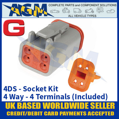 Deutsch 'DT' Series Connector - 4DS Socket Kit - 4 Way - 4 Terminals Included