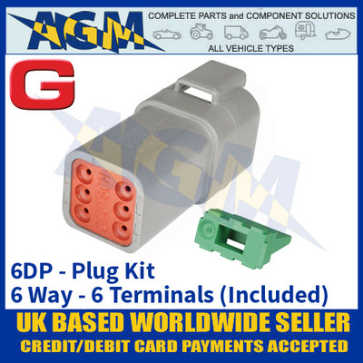 Deutsch 'DT' Series Connector - 6DP Plug Kit - 6 Way - 6 Terminals Included