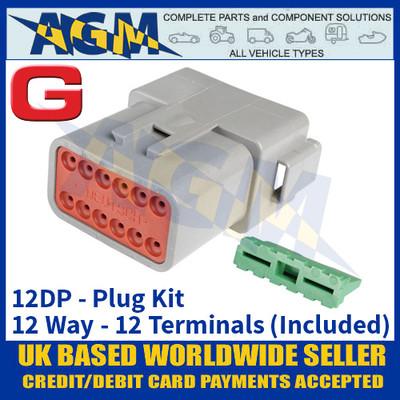 Deutsch 'DT' Series Connector - 12DP Plug Kit - 12 Way - 12 Terminals Included