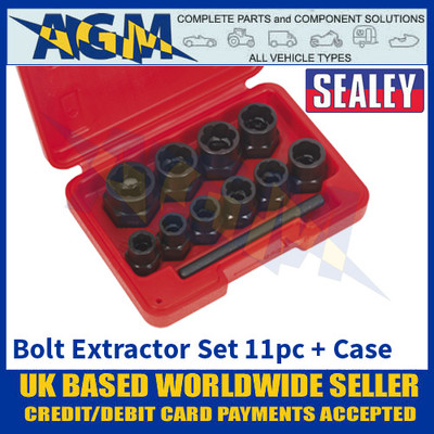 """Sealey AK8184 Bolt Extractor Set, 11 Piece, 3/8"""" Square Drive or Spanner"""