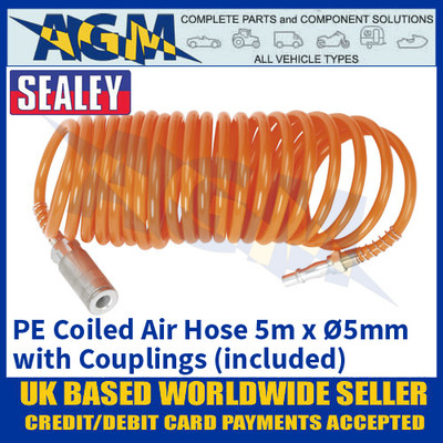 Sealey SA305 PE Coiled Air Hose, 5m x Ø5mm with Couplings (included