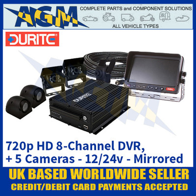 Durite 0-775-88 12/24v 720p HD 8-Channel DVR with 5 Cameras - Mirrored - Best In Class!
