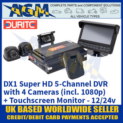 DX1 Super HD 5-Channel DVR with 4 Cameras (incl. 1080p) + Touchscreen Monitor 12/24v