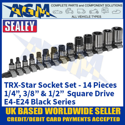 "Sealey AK618B TRX-Star Socket Set, 14 piece, 1/4"", 3/8"" & 1/2"" Sq Drive, E4-EE24 Black Series"