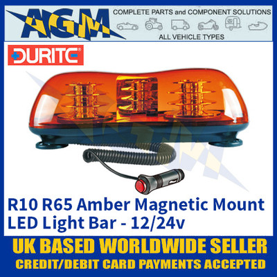 Durite 0-443-85 R10 R65 Amber Magnetic Mount LED Light Bar, 46 LED's, 12/24v