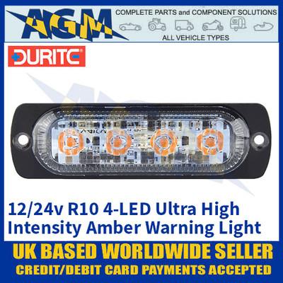 Durite 0-441-71, R10, 4-LED Ultra High Intensity Amber Warning Light, 12/24v