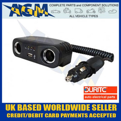 Durite 0-601-92 12v Double Power Socket Adaptor with USB Socket