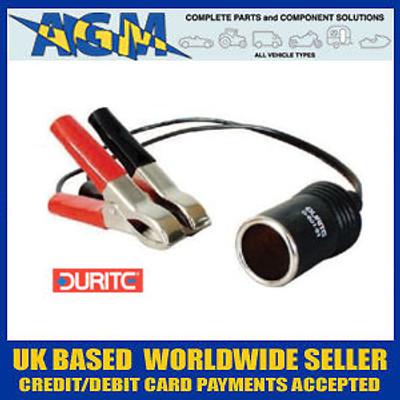 Durite 0-601-91 Cigarette Lighter Power Socket Lead with Red and Black Crocodile Clips