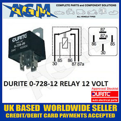 Durite 0-728-12 12v 5 Terminal Change Over Relay with Bracket 20/30 Amps
