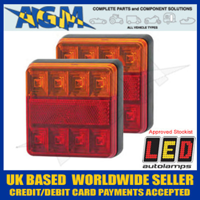 LED Autolamps 101BAR2 PAIR of Slimline 12v LED Trailer Stop/Tail/Indicator Lamps