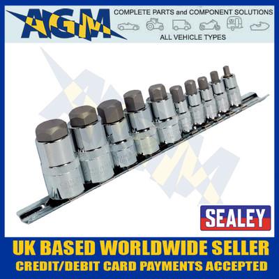 """Sealey AK6229 Hex Socket Bit Set 10pc Stubby Allen Key 1/4"""", 3/8"""" & 1/2""""sq Drive"""