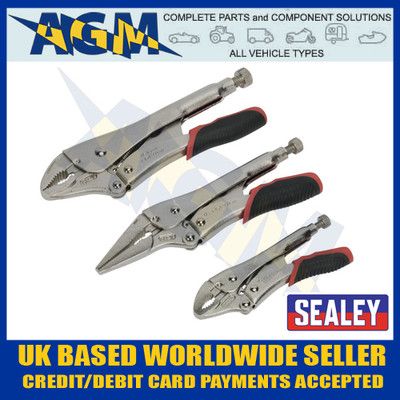 Sealey AK6863 Locking Pliers/Grips Mulgrip Set Quick Release 3pc inc Pin Nosed