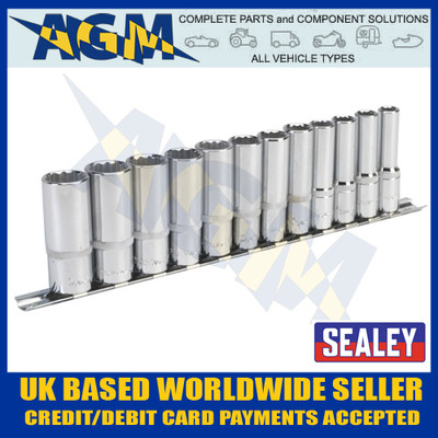 "Sealey AK2683 Socket Set 12pc 3/8""sq Drive 12pt Deep Walldrive® Metric on Rail"