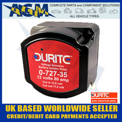 Durite 0-727-35, 12V 80A Battery Saver/Isolator Relay Avoid Flat Batteries