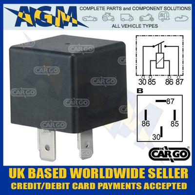 Cargo 160307/Durite 0-727-24, 24V 4 Terminal Make or Break Relay with Bracket 20 Amp