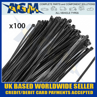 High Quality Heavy Duty 200mm x 4.8mm Black Cable Ties (Pk 100) HFC200