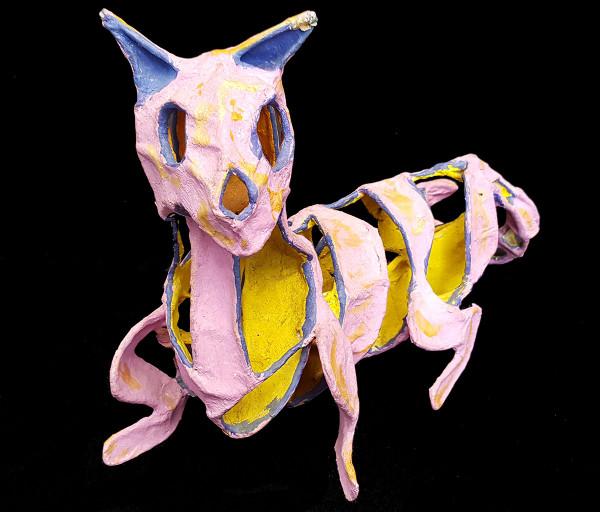 Papier-mâché cat sculpture front
