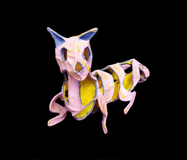 Handmade Papier-mâché Cat Sculpture