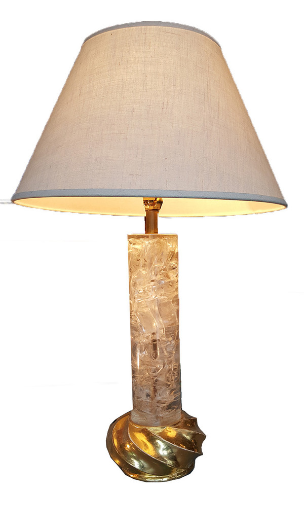 """""""Fractured""""  Lucite Lamp with Gilded Base"""