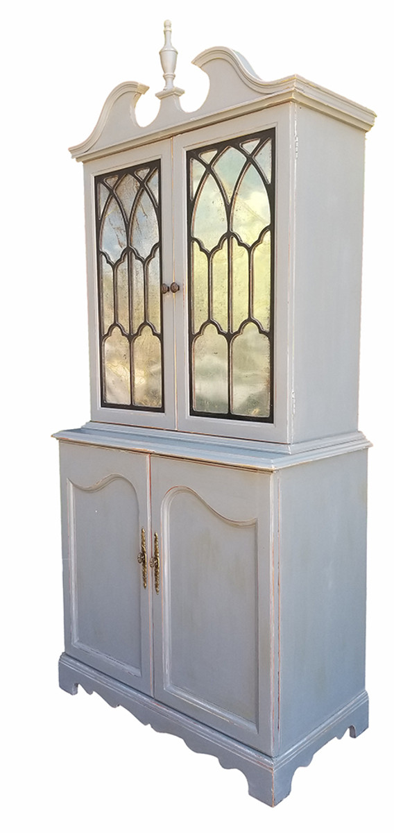 Federal Hutch in gray and black with metal Insets