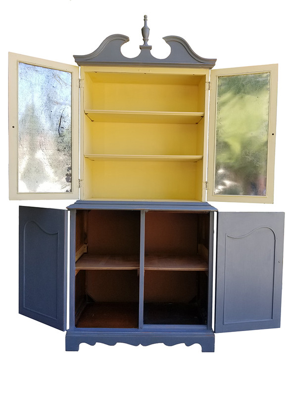 Federal Hutch in gray and black with metal Insets full open view
