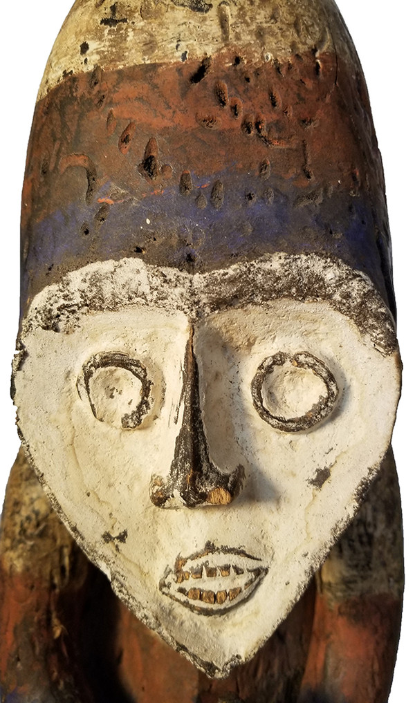 African Carved Fang Figure Head detail