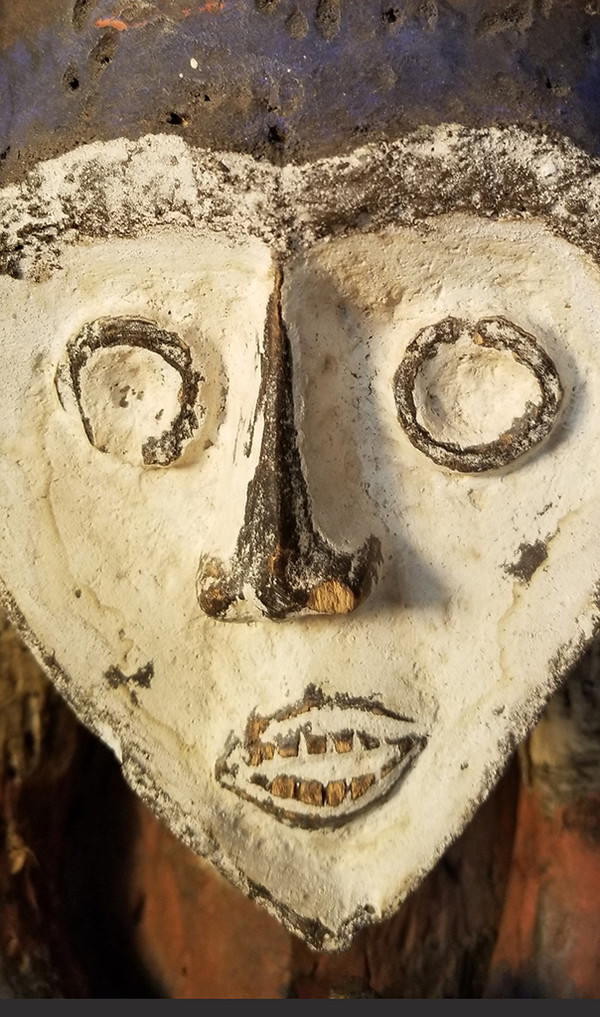 African Carved Fang Figure face detail