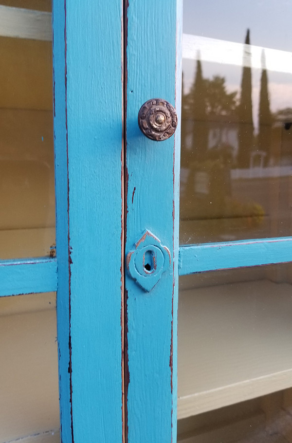 Antique Hutch in Aqua and Yellow Upper glass and hardware detail