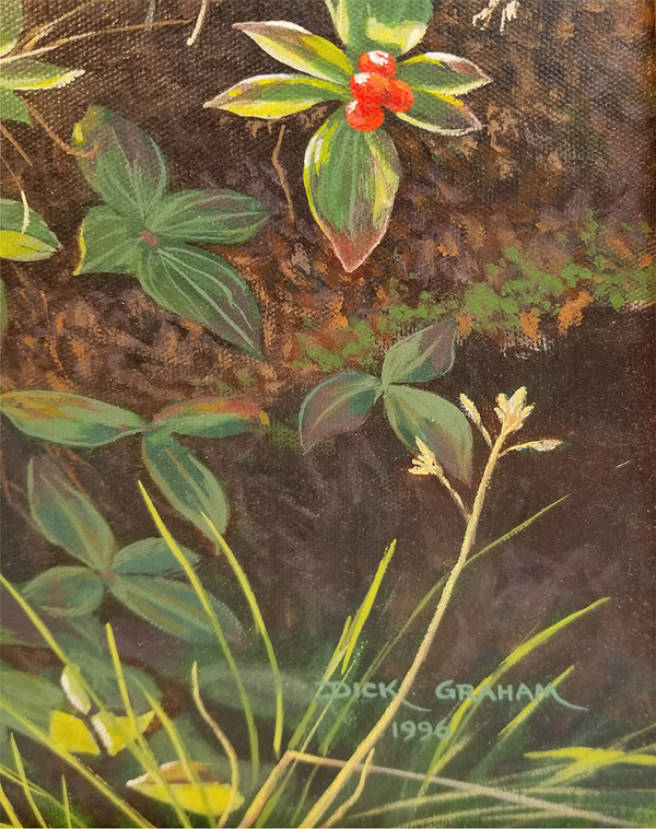 Signed red berry oil on canvas  signature detail