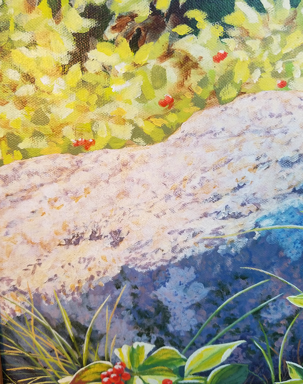 Signed red berry oil on canvas  stone detail