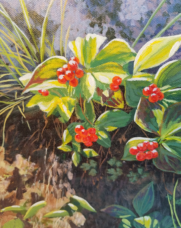 Signed red berry oil on canvas berry detail