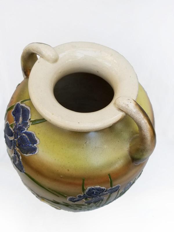 Bird and Iris Ceramic Vase top